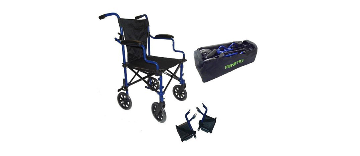 Super Lightweight Folding Transport Travel Wheelchair by Elite Care