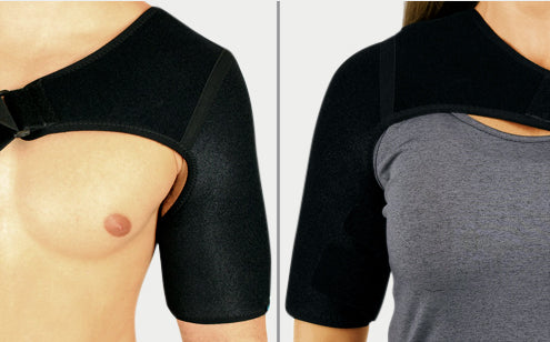 Unisex shoulder brace can be worn left or right shoulder