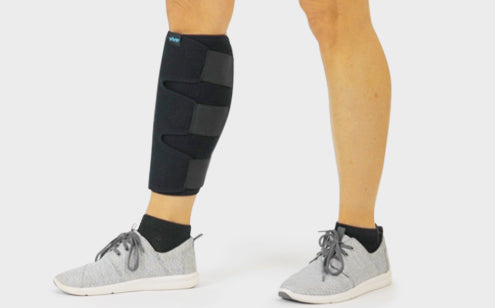 Right leg wearing calf brace