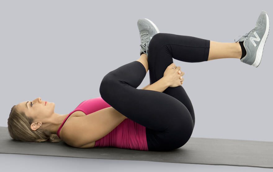 woman hip stretching