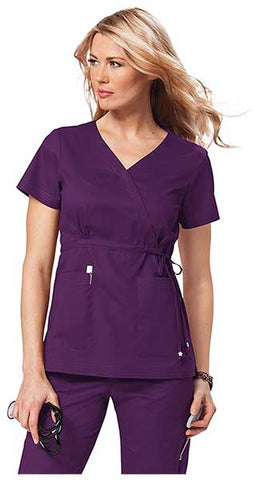 Women's Katelyn Easy-Fit Mock-Wrap Scrub Top With Adjustable Side Tie by KOI
