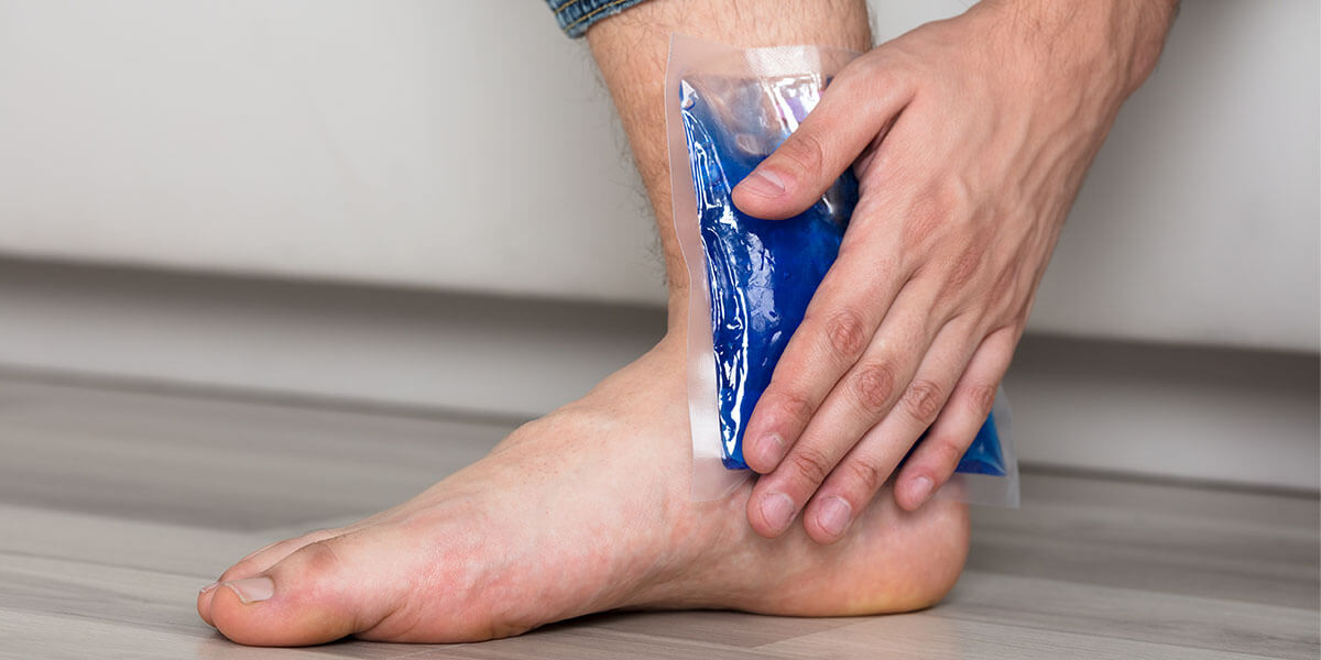 ankle with ice pack