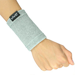 Right hand wearing gray bamboo wrist support by vive
