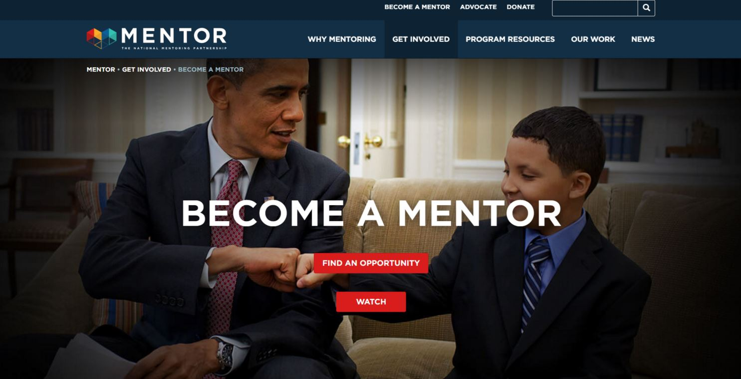 president obama and child on home page of mentor.com