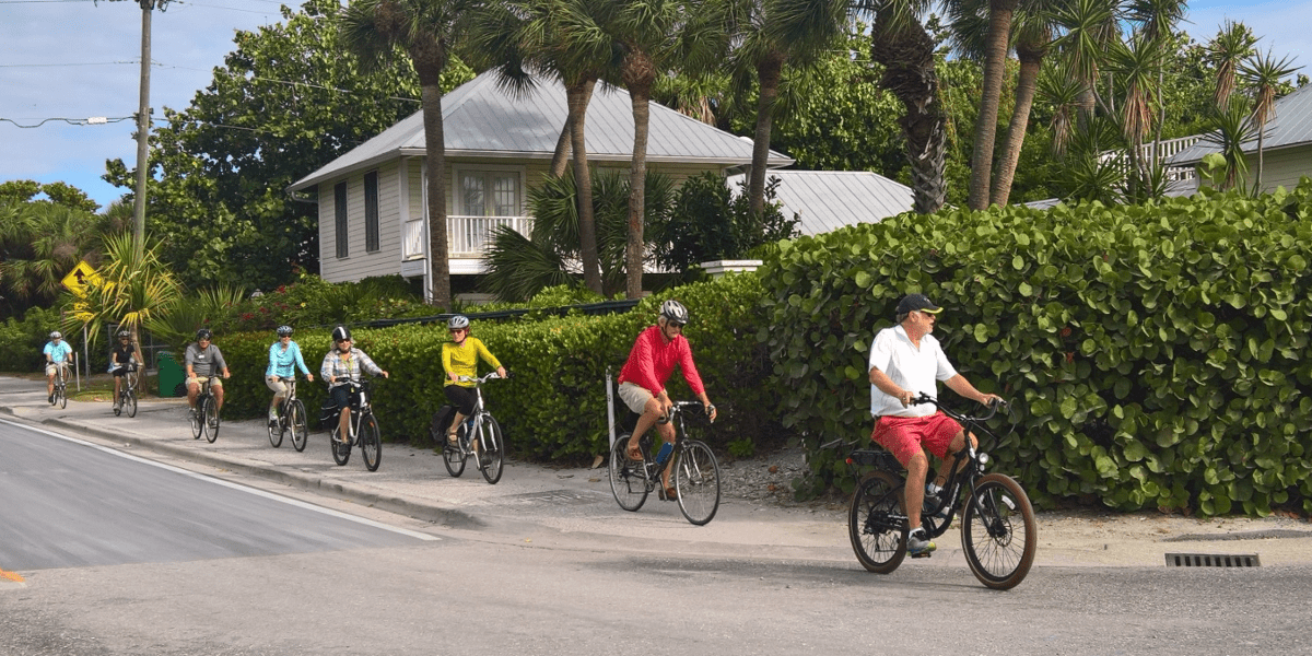 group of people bicycling