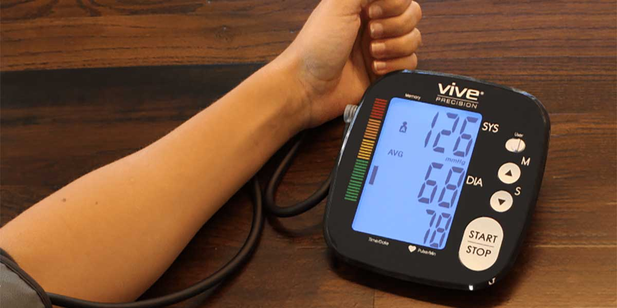 taking blood pressure reading