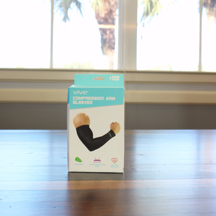compression arm sleeve on table