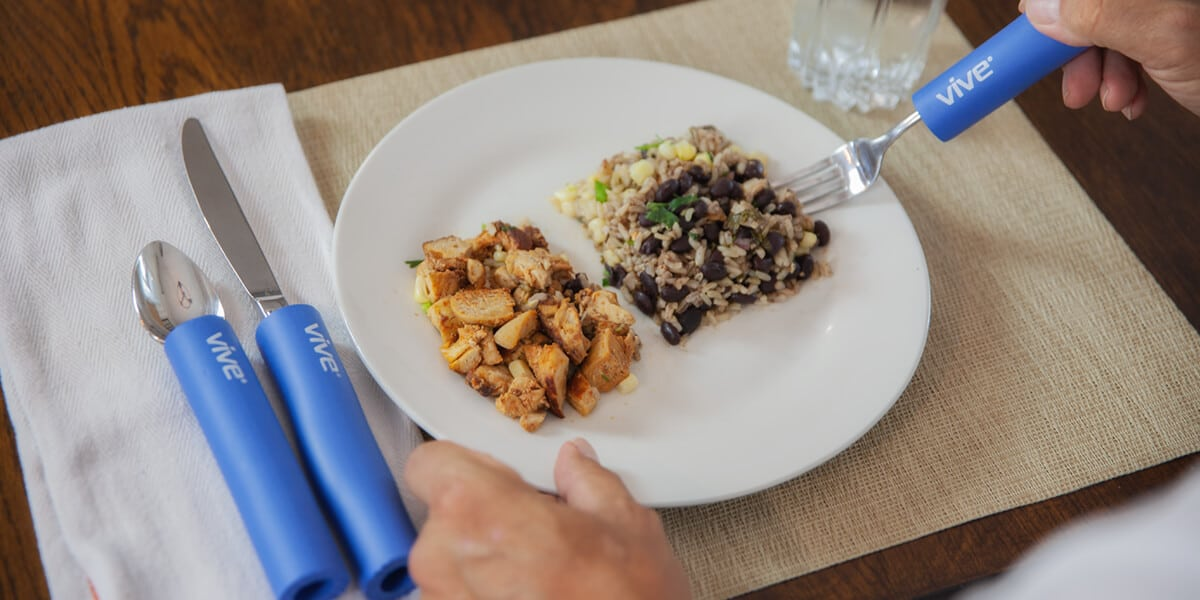 eating food with grips on fork