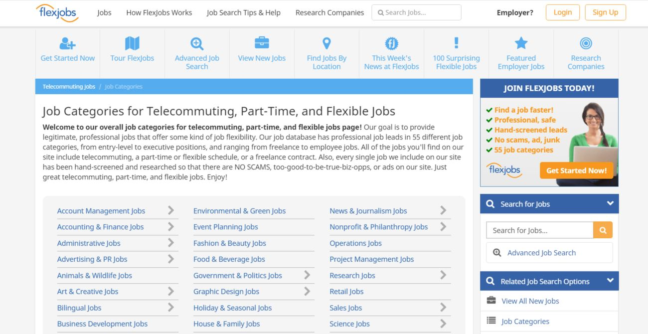 flex jobs homepage
