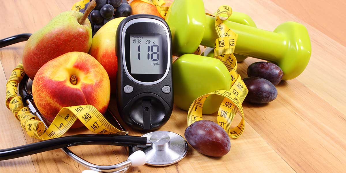 glucometer apples stethoscope dumbbells