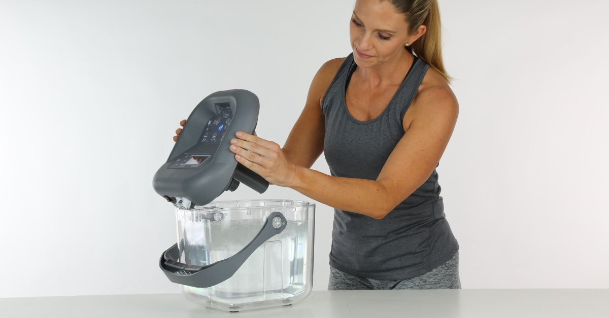 setting up ice therapy machine for shoulder