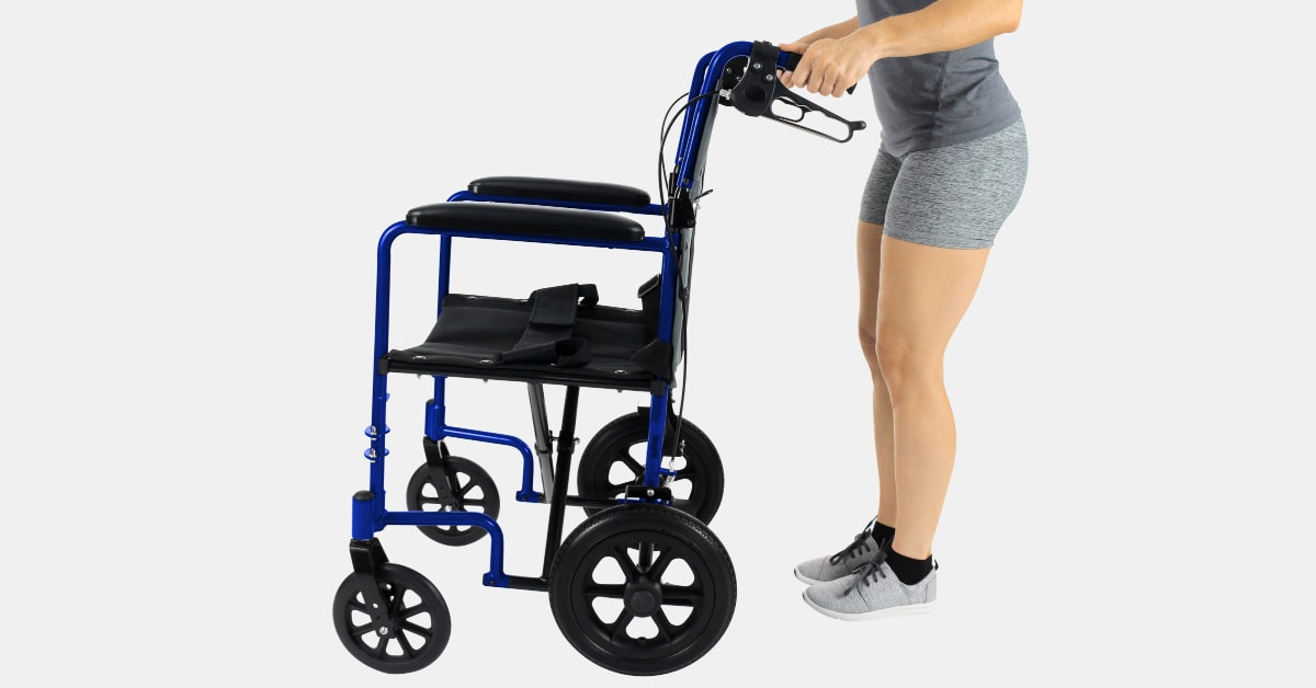 woman pushing lightweight wheelchair