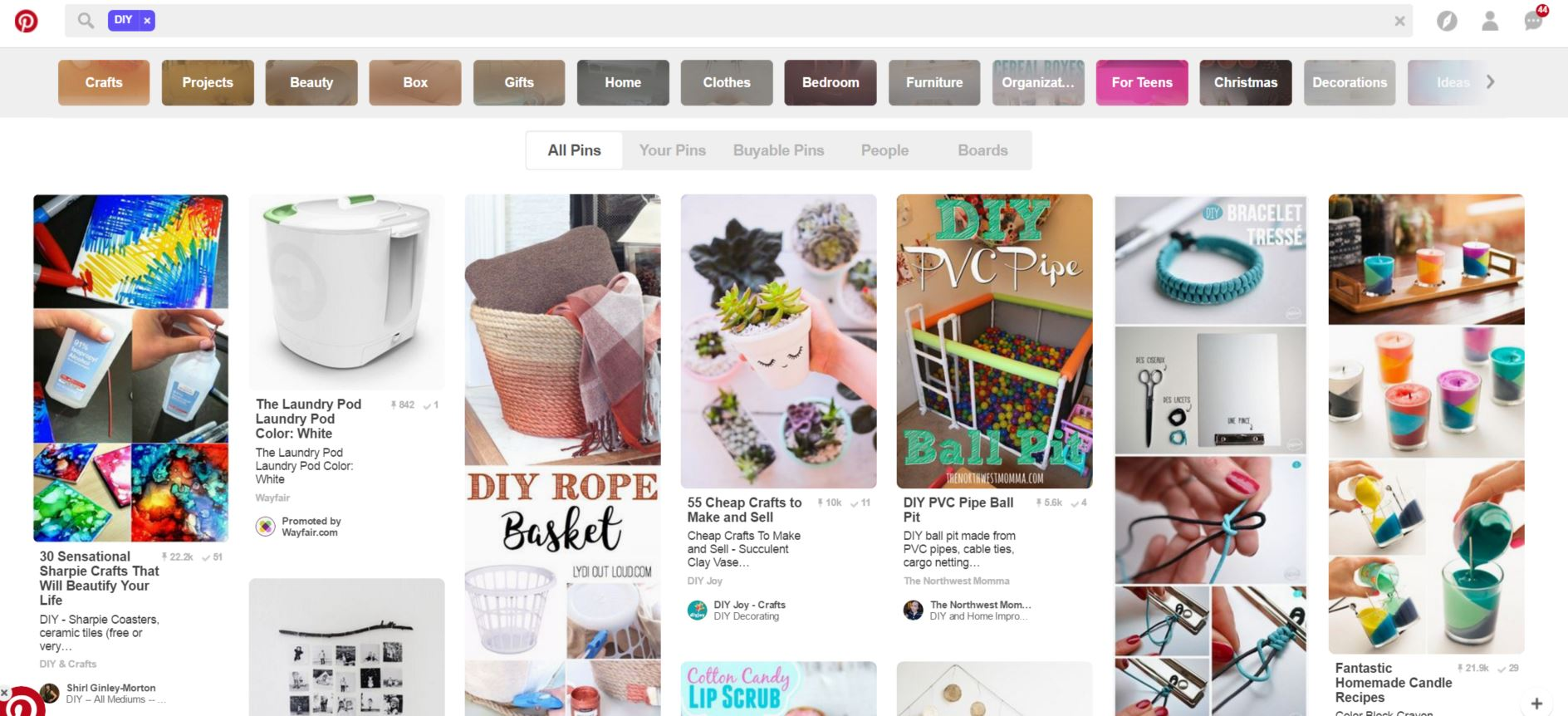 DIY search on pinterest