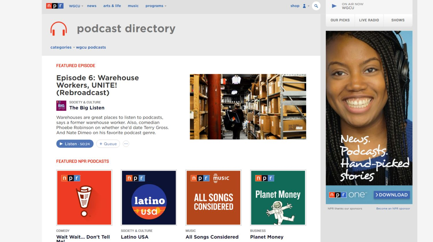 npr podcast directory page