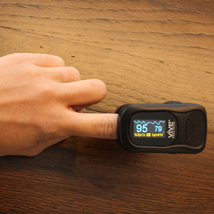 measuring oxygen saturation with finger pulse oximeter