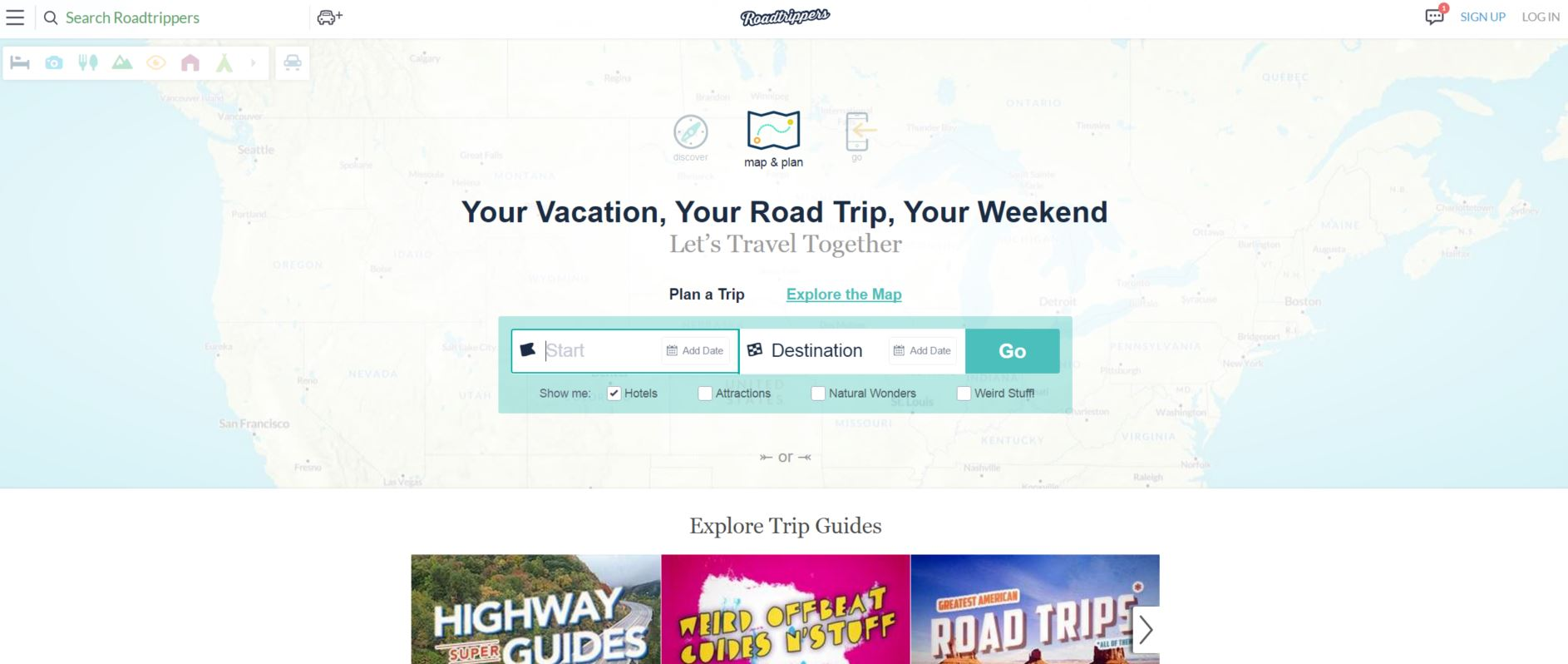 roadtrippers homepage