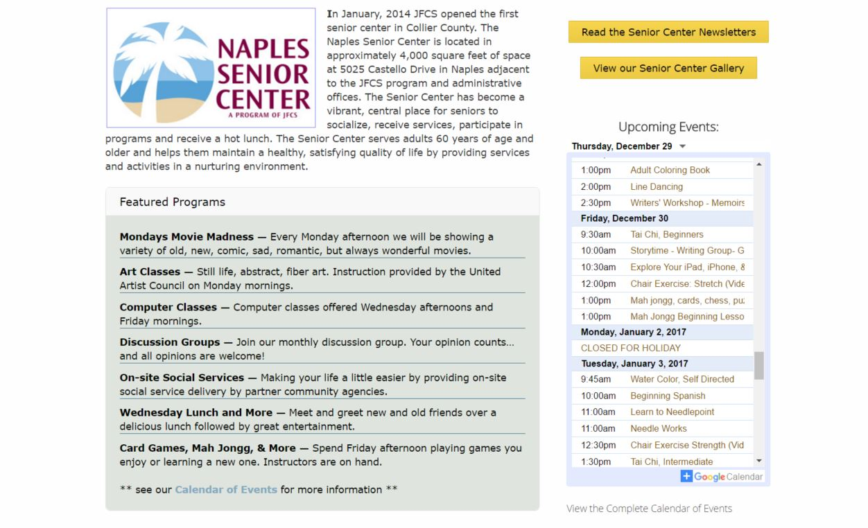 naples senior center upcoming events