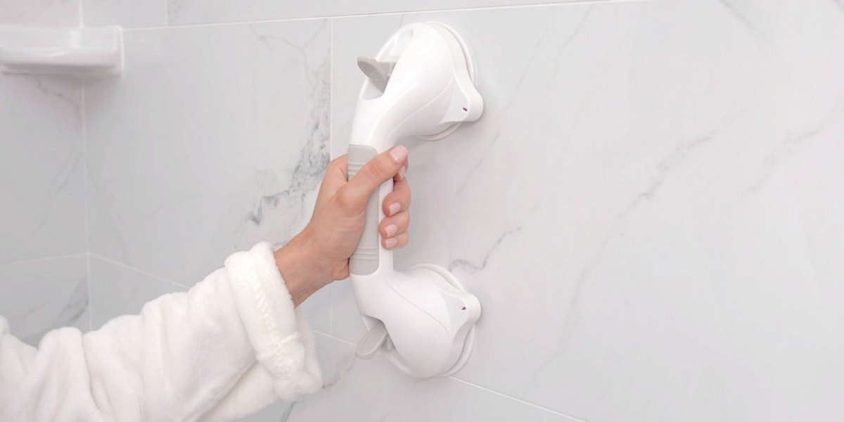 Suction Grab Bar Attached To Shower Wall