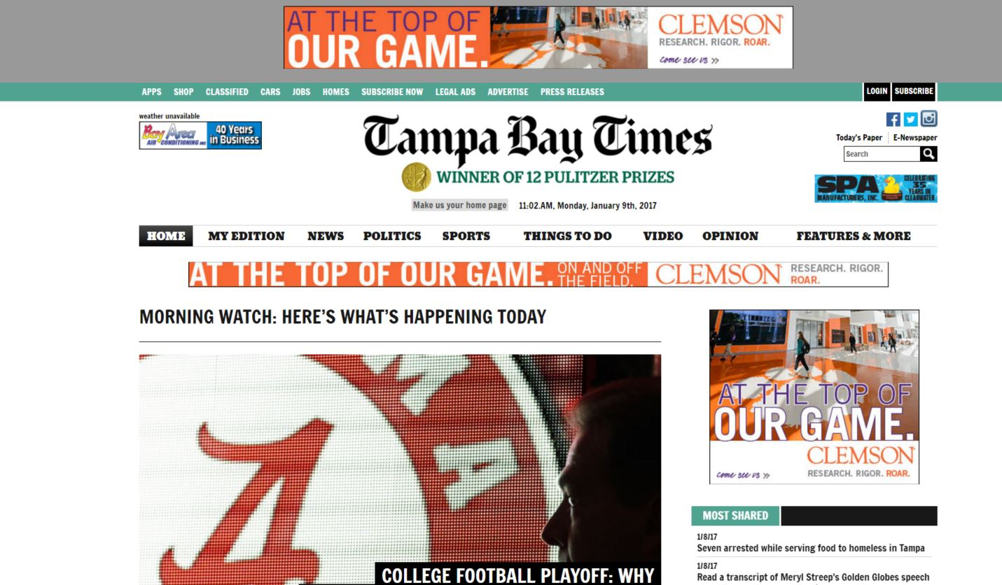 tampa bay times newspaper homepage