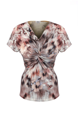 Blush floral knot front top