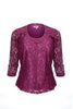 lace scoop neck top in sangria