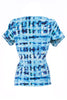 Blue ocean print knot front top