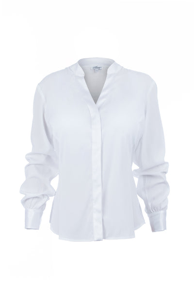 White essential silk utility blouse