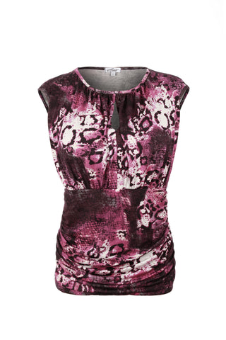 Pink snake print keyhole top