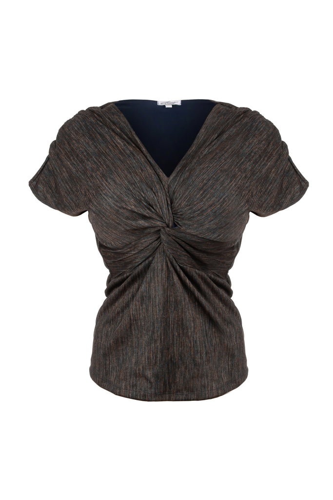 Blue shimmer lined knot front top