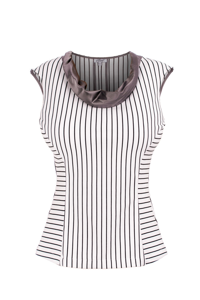 White pinstripe cap sleeve shell with silk cowl