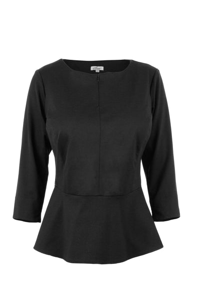 Black split neck peplum top