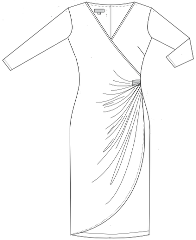 On the drawing board: faux wrap dress