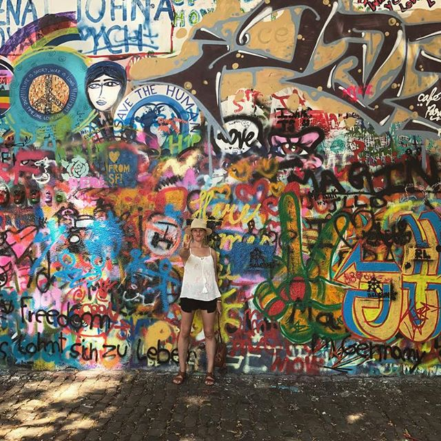 At the John Lennon wall in Prague Czech Republic! One of the coolest cities I've been to.