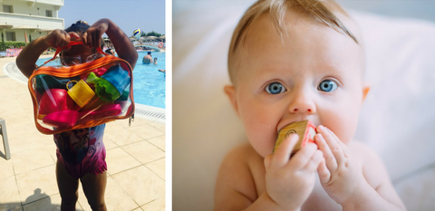 Baby putting toy in mouth and another child organizing toys with packing cubes