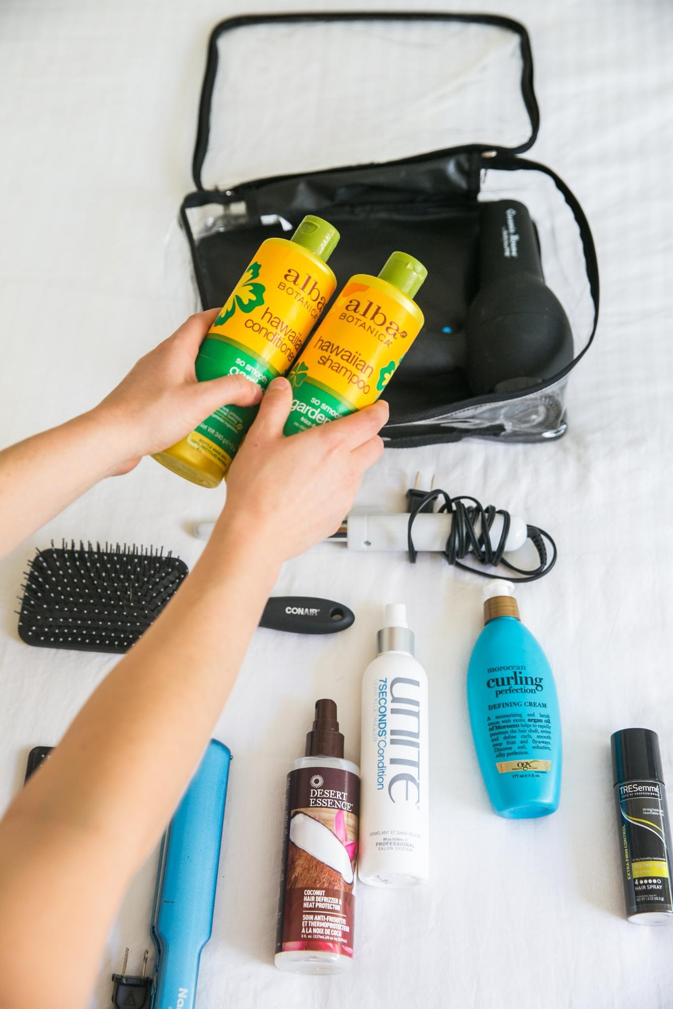 Alba Botanica Hawaiian shampoo and conditioner for travel hair products