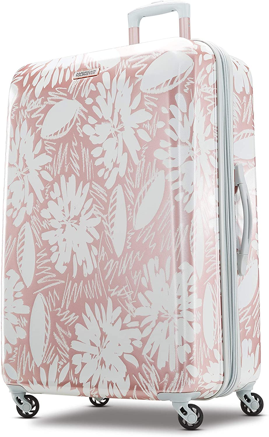 American Tourister rose gold suitcase