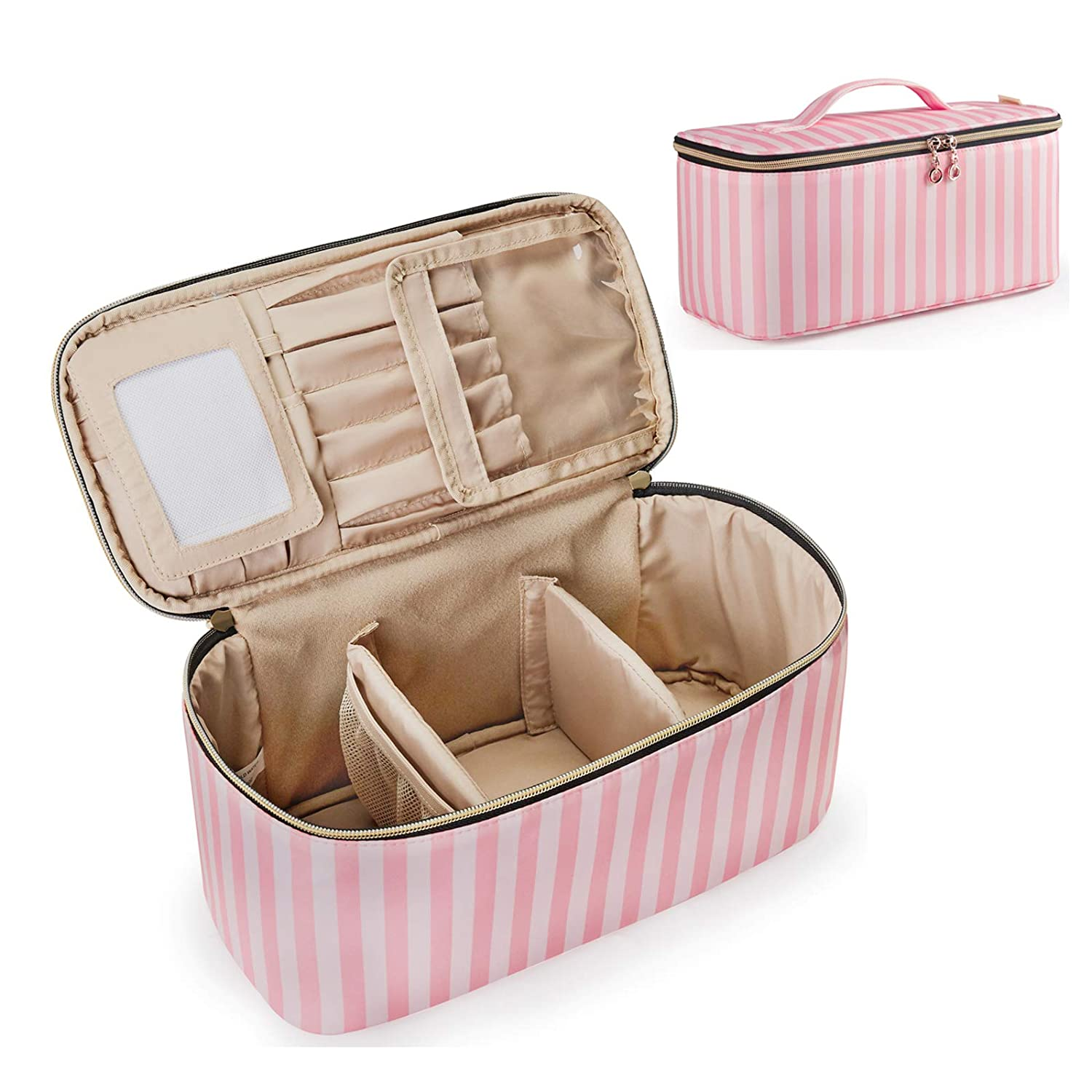 Bagsmart large cosmetic bag white and pink stripes