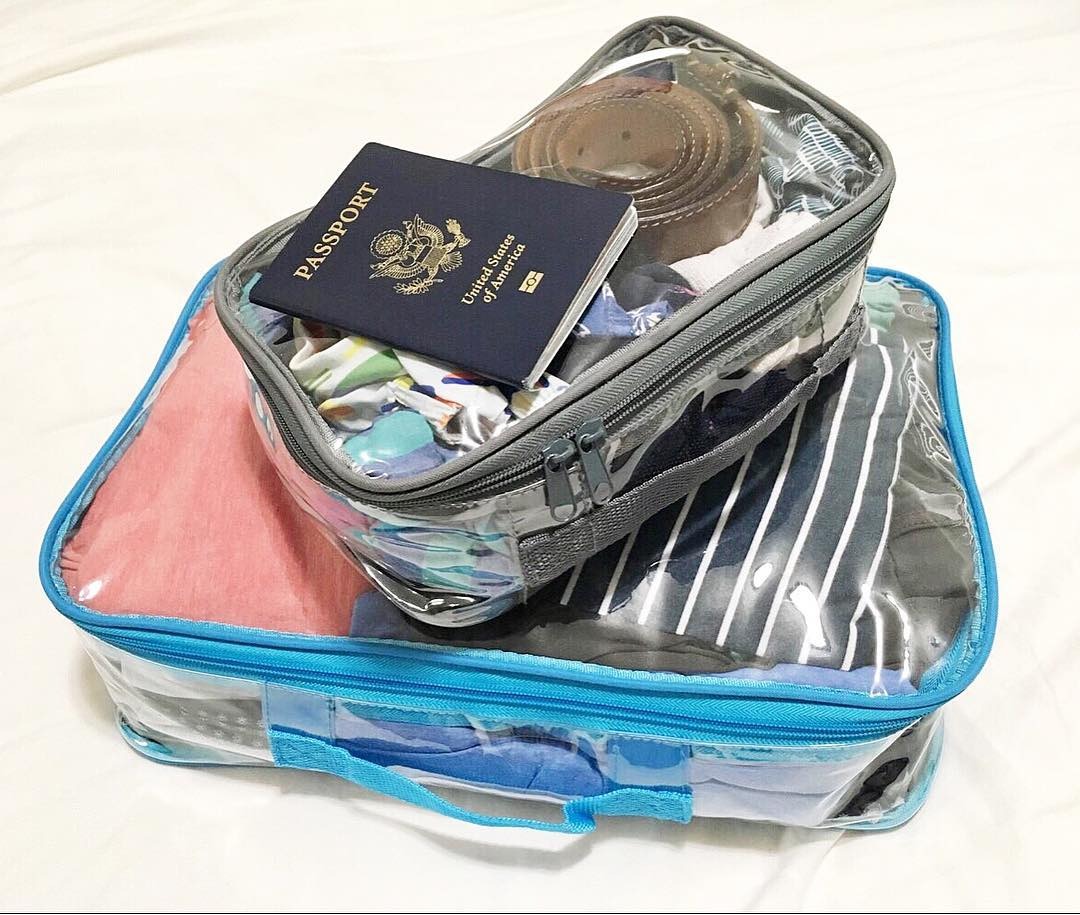Passport and clear cubes for travel