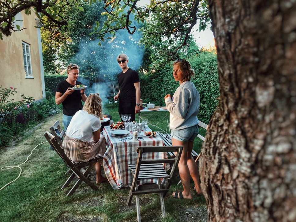 Backyard barbecue with family after lockdown