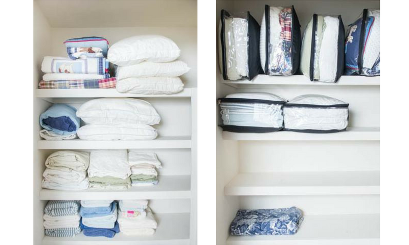 Before And After Photo Using EzPacking Travel Cube With Duvet, Blanket, Towels