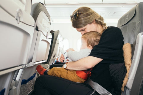 Mother and baby sitting comfortably in airplane
