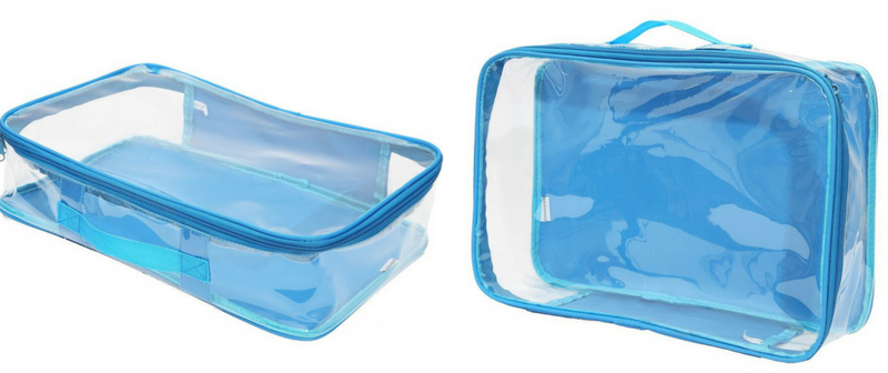 Blue EzPacking cubes which can be used for Disneyland vacation planning