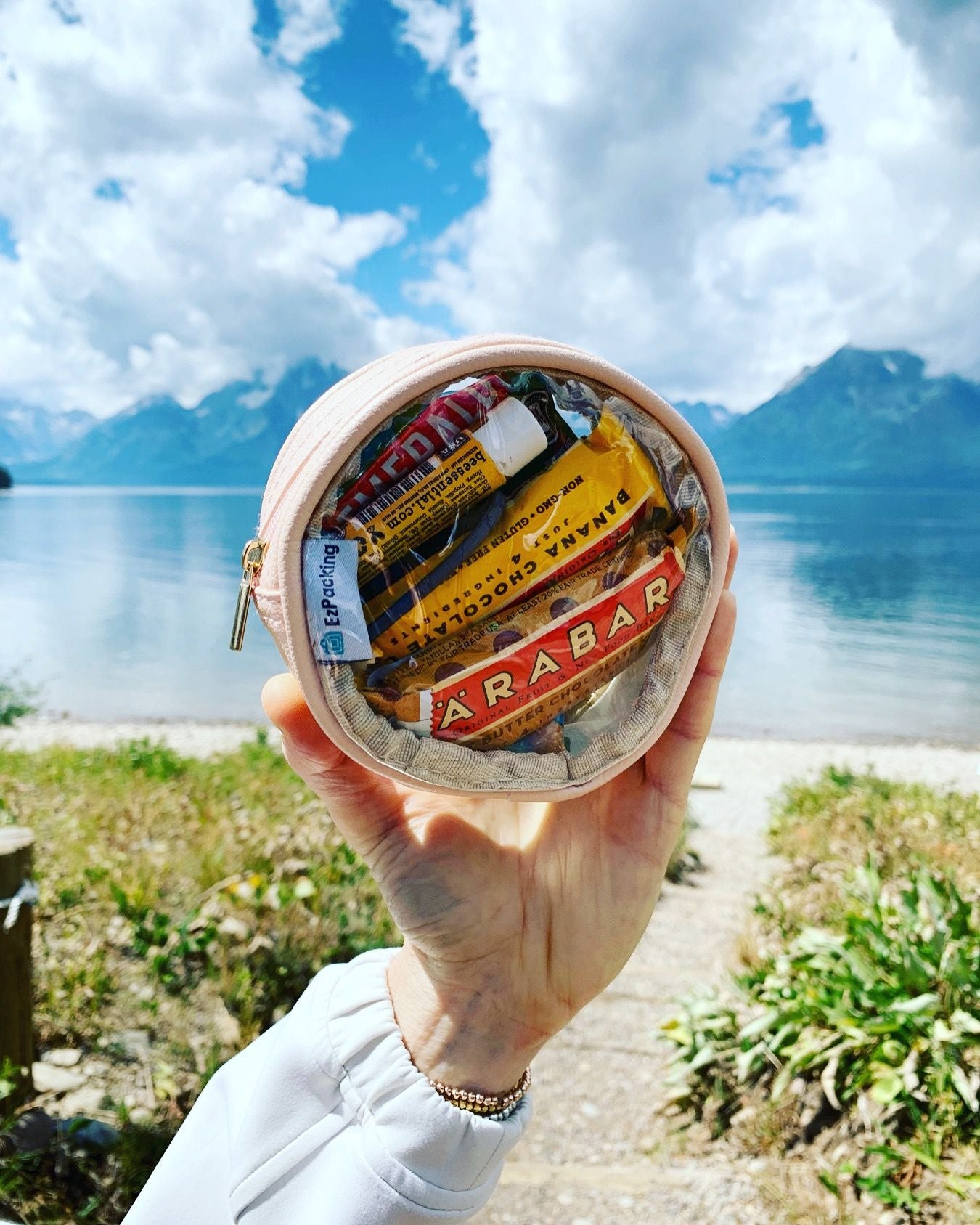 Camping snacks in a clear circle pouch