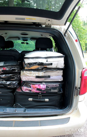 EzPacking cubes with emergency items placed in the car's trunk