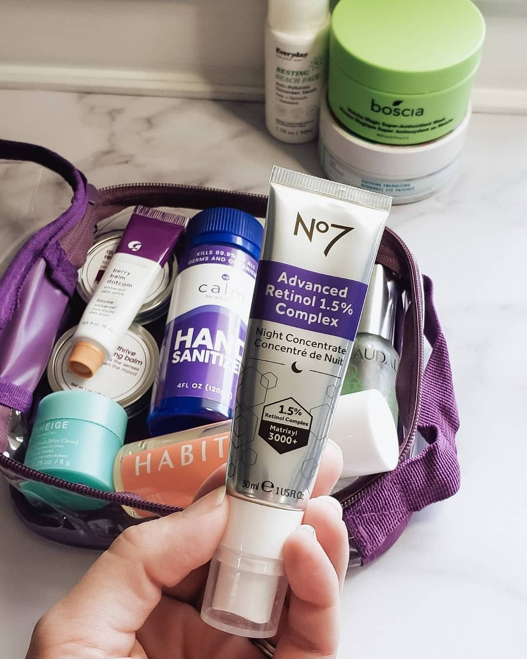 Makeup essentials packed in a quart size bag