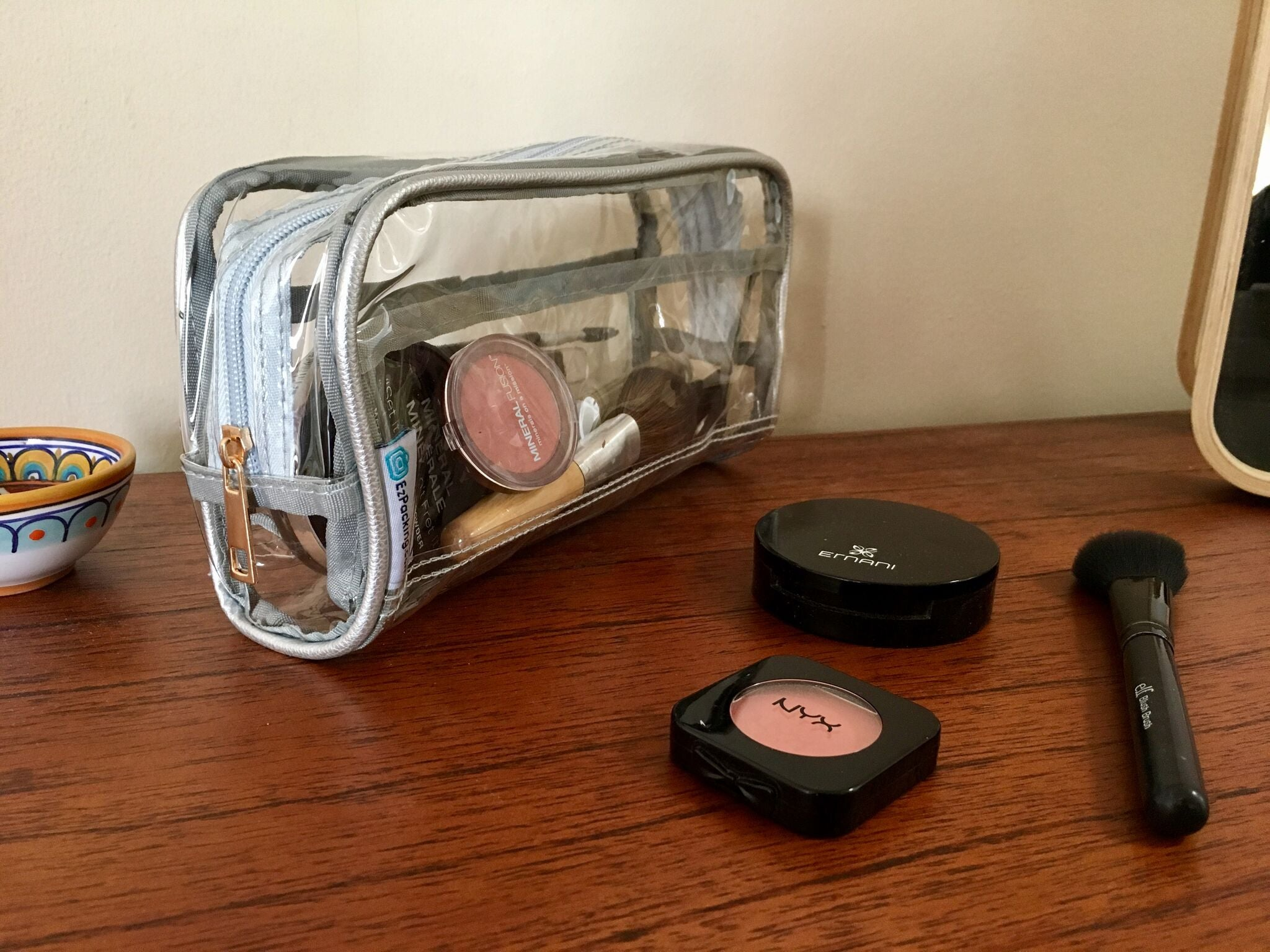 Clear makeup bag for one-month vacation