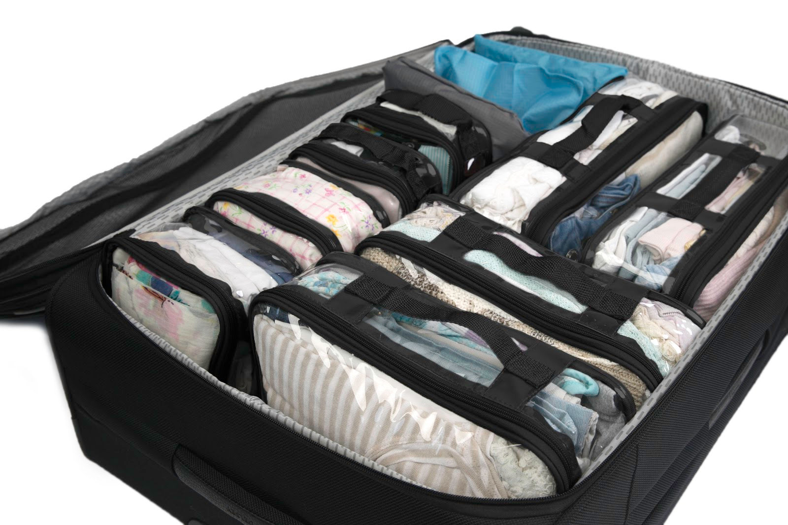 Clear Packing Cells save space and organize your suitcase