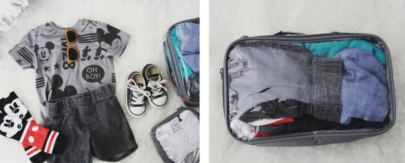Grey EzPacking cubes with clothes essentials when bringing baby on flight