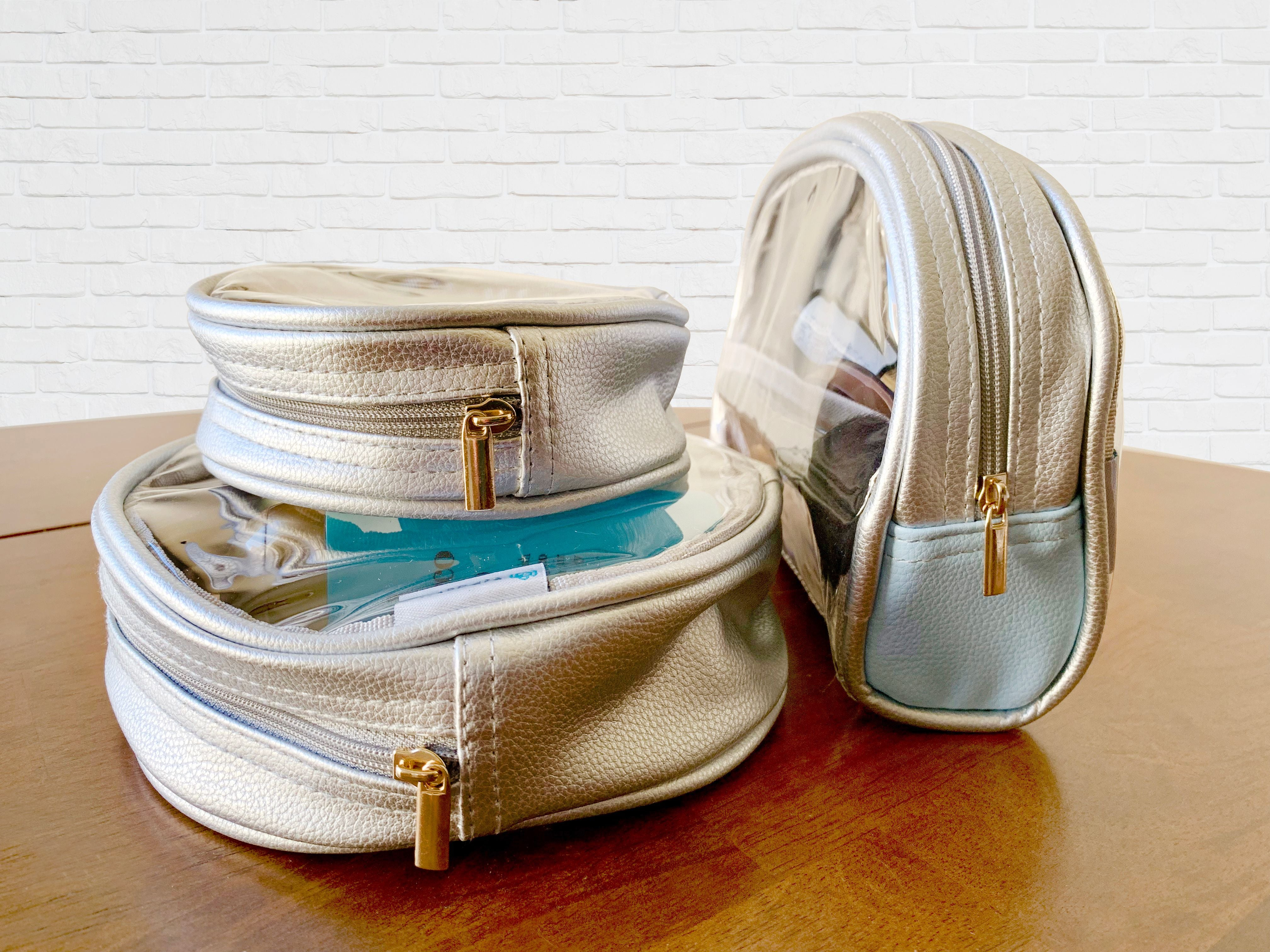 Clear circular pouch and half moon bag