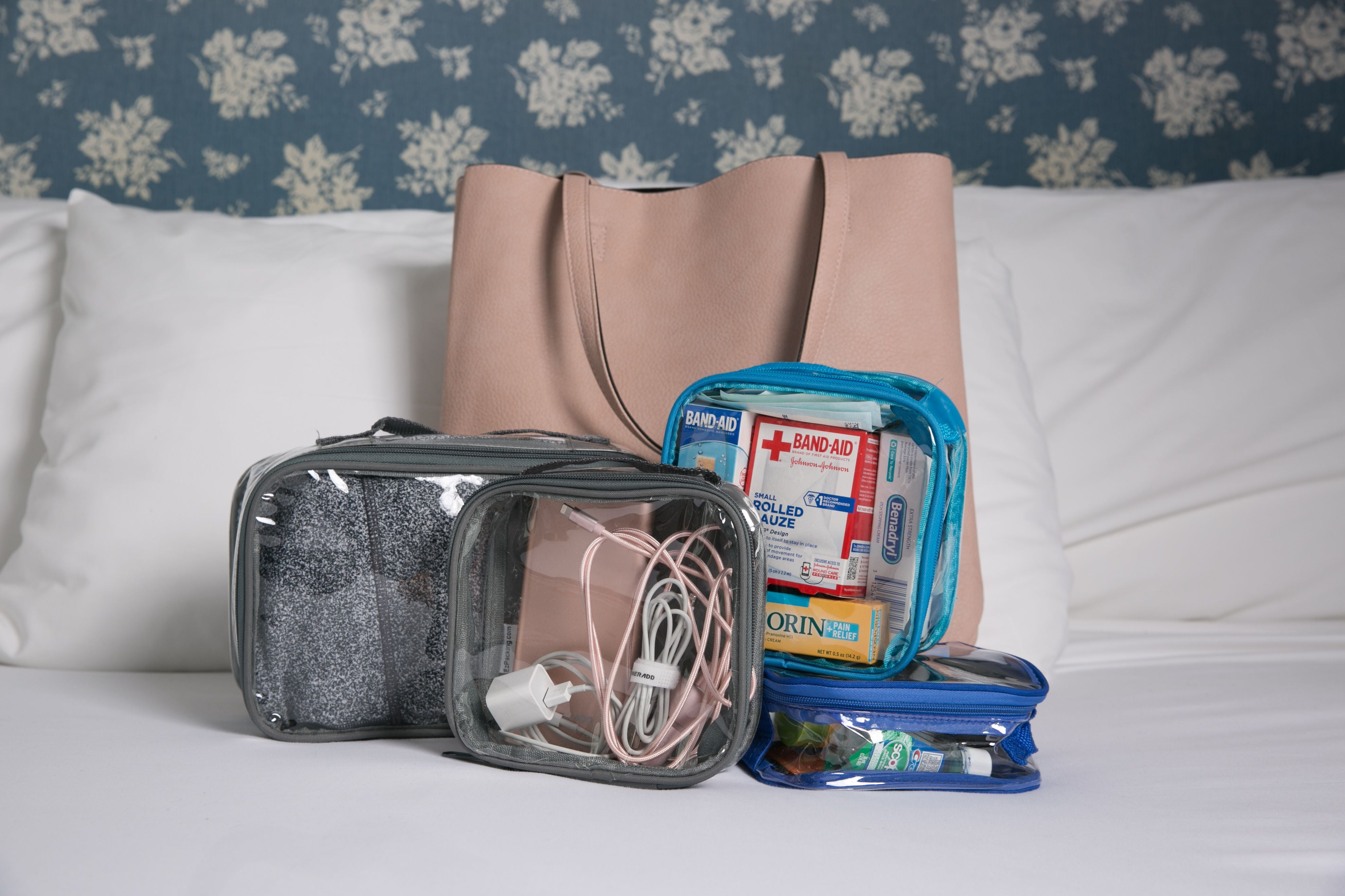 Clear packing cubes and a tote bag
